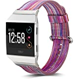 Fitbit Ionic Bands Leather ,MAPUCE Fitbit Ionic Smartwatch Accessories Bracelet Rainbow Adjustable Replacement Sport Wrist Straps for Fitbit Ionic Band Women Men