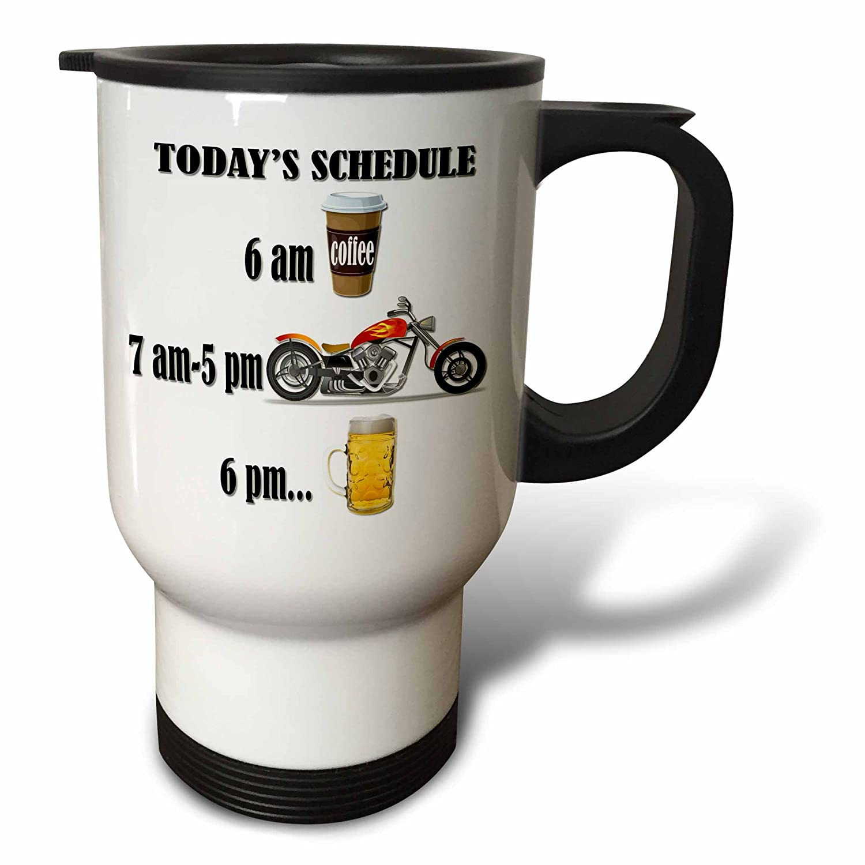 3dRose tm_220705_1 Coffee, Motorcycle, Beer Funny Motorcycles Saying Travel Mug, 14 oz, White