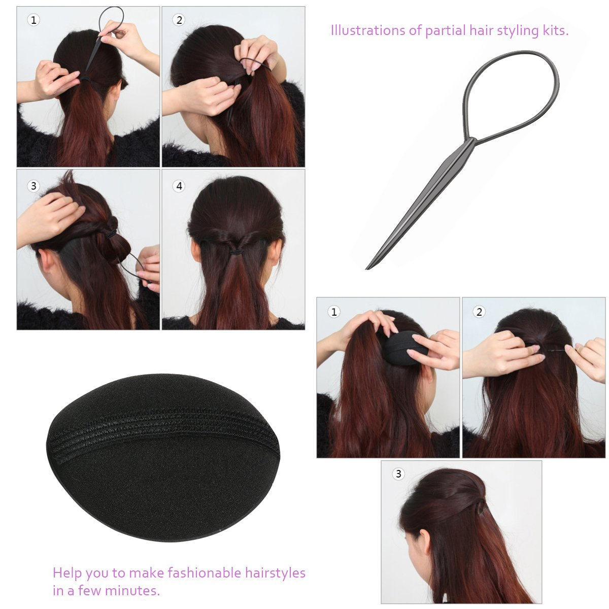 Amazon.com: PIXNOR Hair Styling Accessories Kit Set for DIY: Health ...