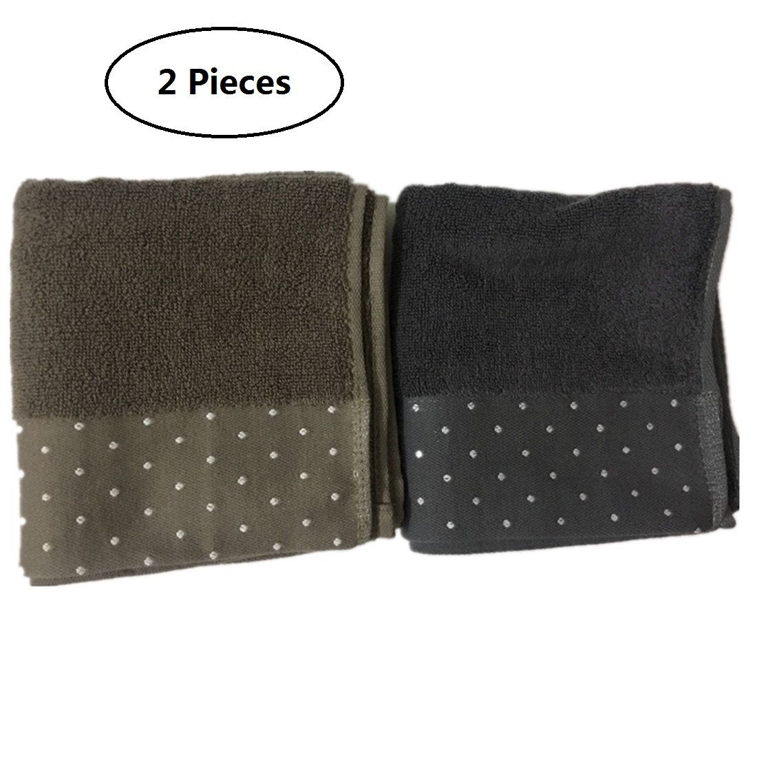 Tsuen Cotton Large Hand Towels Set, 2 Pack Polka Dots Pattern - 13.4 x 29 Inches Soft Cotton Highly Absorbent Hand Towels for Bathroom Hotel Gym Spa and Kitchen, Blue and Brown