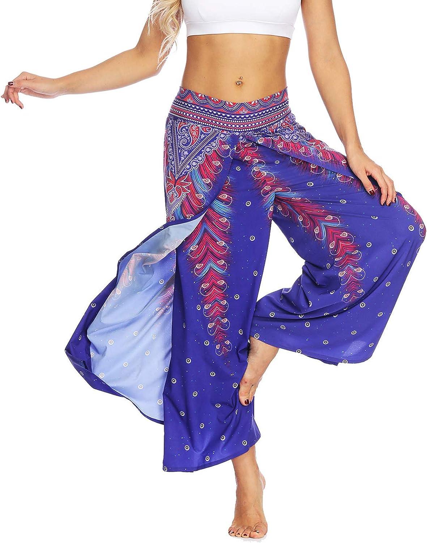 Lus Chic Womens Boho Pants Wide Leg Palazzo Slit Yoga Workout Palazzo Hippie Beach Pants