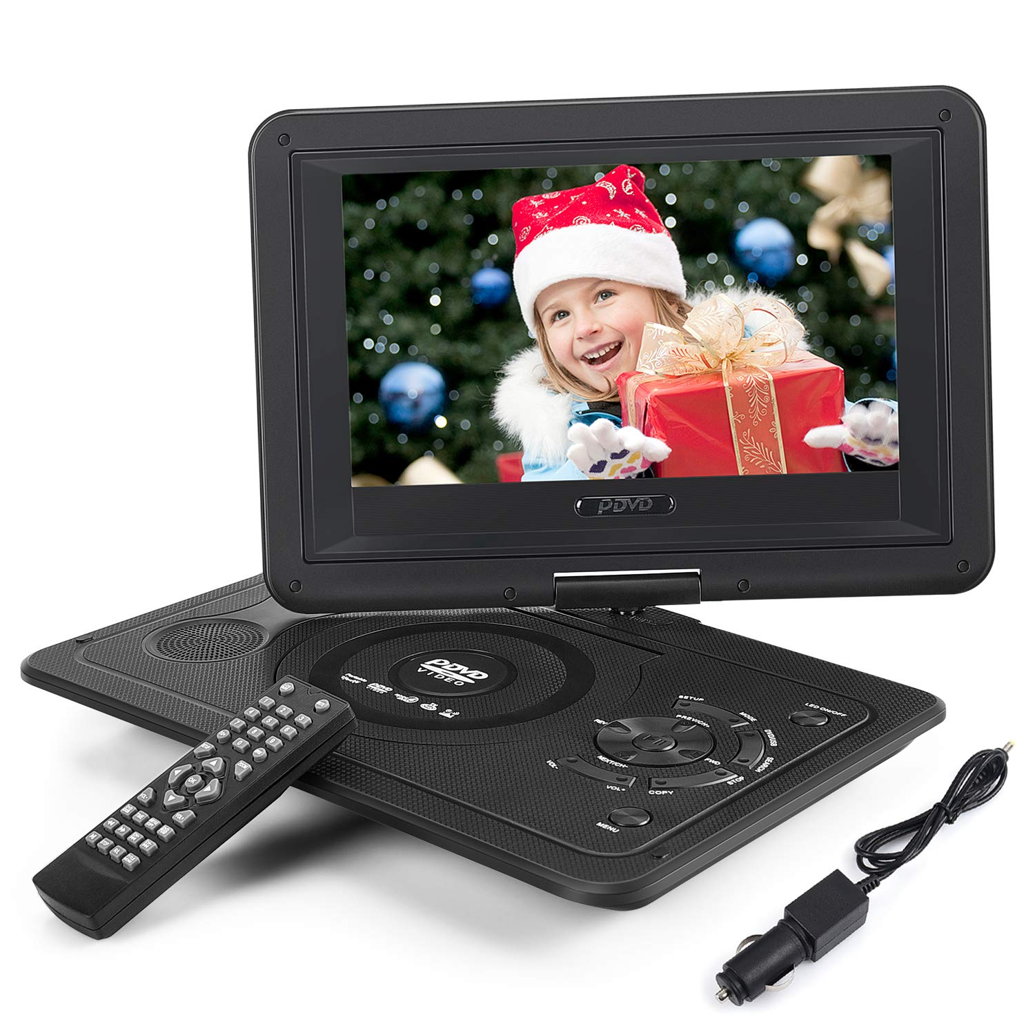 Whew Portable DVD Player for Kids Car Travel, 10.1'' Swivel Screen, 4 Hour Rechargeable Battery, Car Charger, Earphone Jack for CD/DVD Region Free