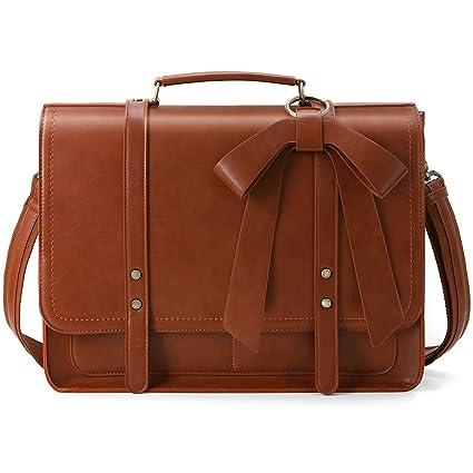bd64b09fa1cd Amazon.com  ECOSUSI Women Briefcase PU Leather Laptop Shoulder ...