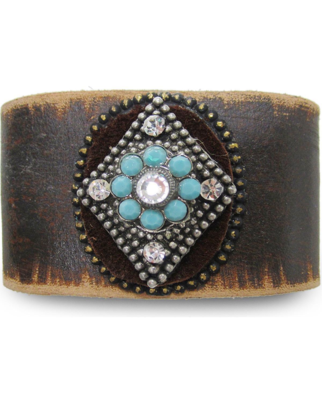 Cowgirl Confetti Women's Mystic Diamond Leather Cuff Dark Brown One Size