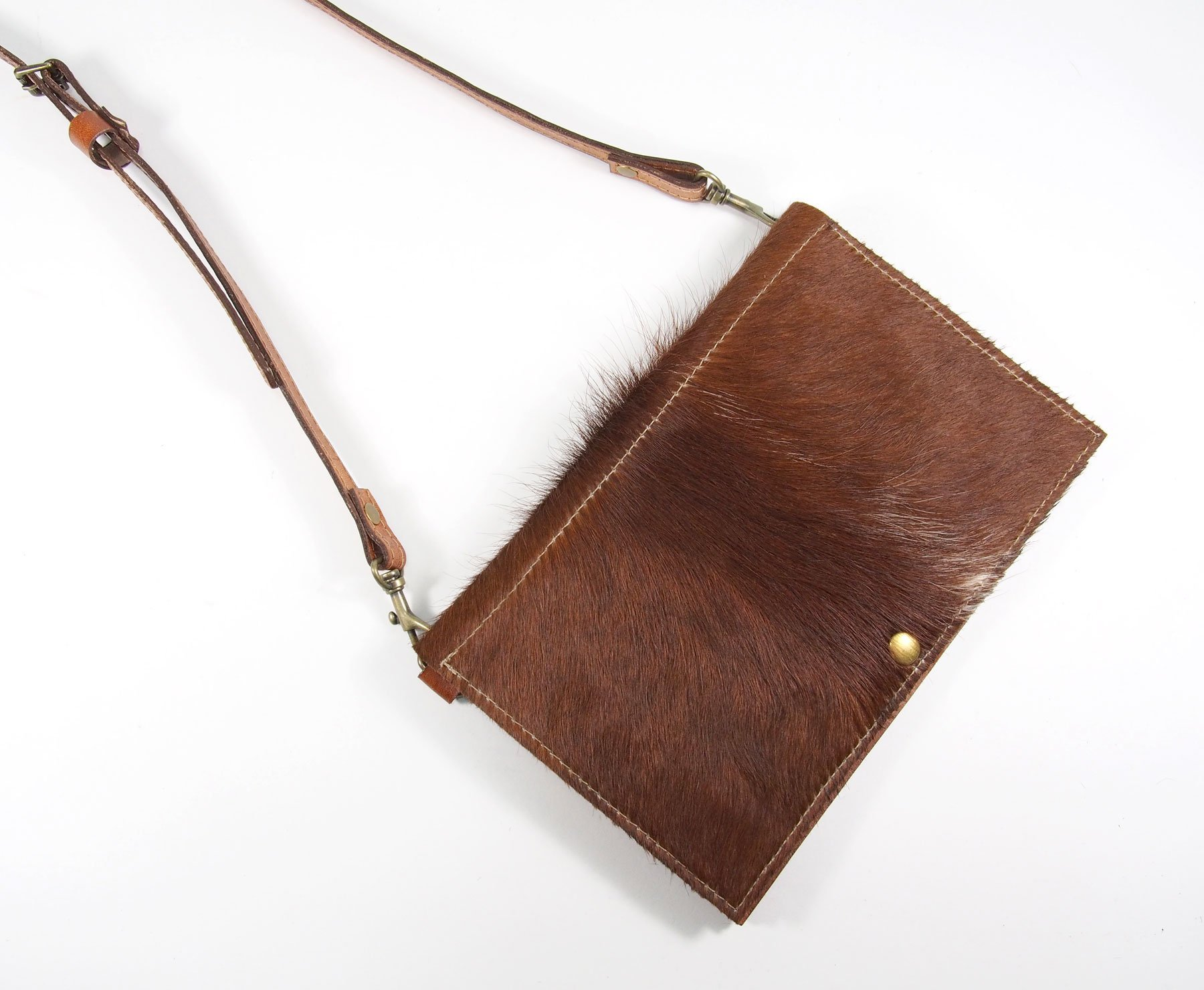 Brown Leather Cowhide Cross-Body Purse
