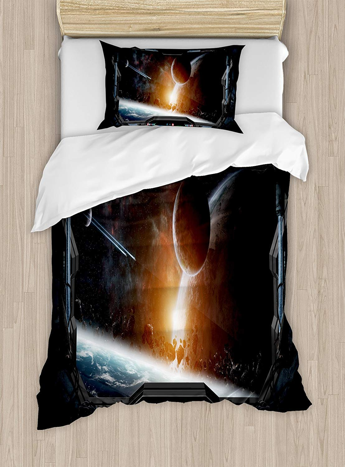 MAIANNE Outer Space Duvet Cover, Scenery of Planets from The Window of a Shuttle Bodies Astronaut Space Station, Decorative 4 Piece Bedding Set with 2 Pillowcases, Gray Orange