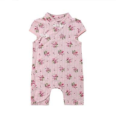 d4c3636c25d5 Amazon.com  Yoyo-kilo Newborn Infant Toddler Baby Girl Floral Romper ...