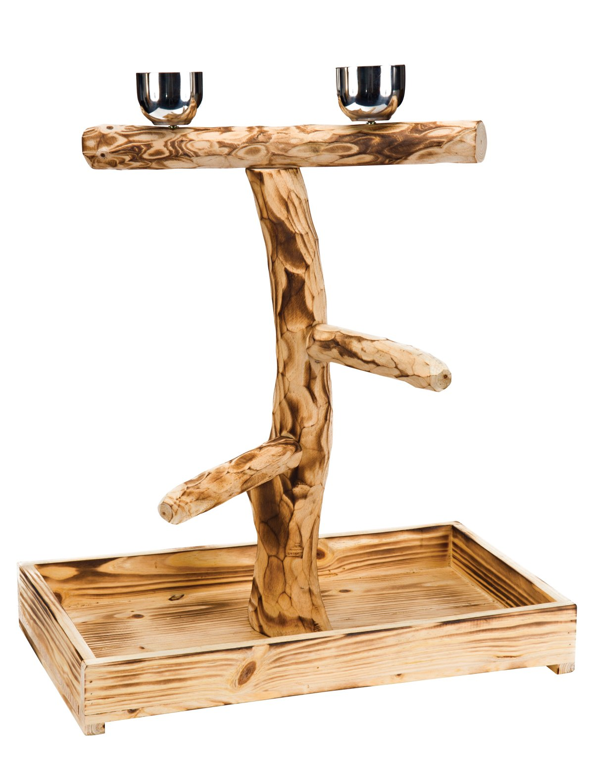 Penn Plax Wood Bird Perch with 2 Stainless Steel Feeding Cups and Drop Tray for Large Birds - 19 Inch Height by Penn Plax