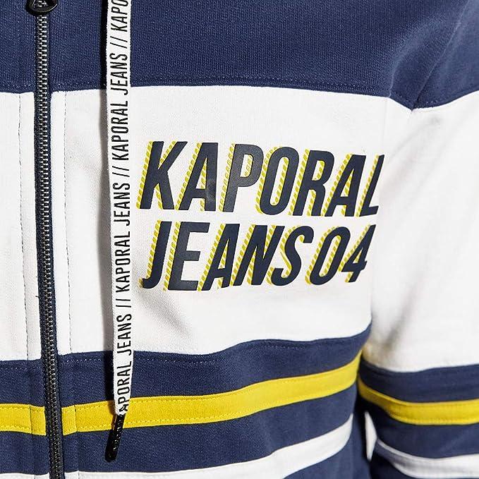 Sweat Gris zipp/é /à Capuche Kaporal Homme Taho Coupe Droite