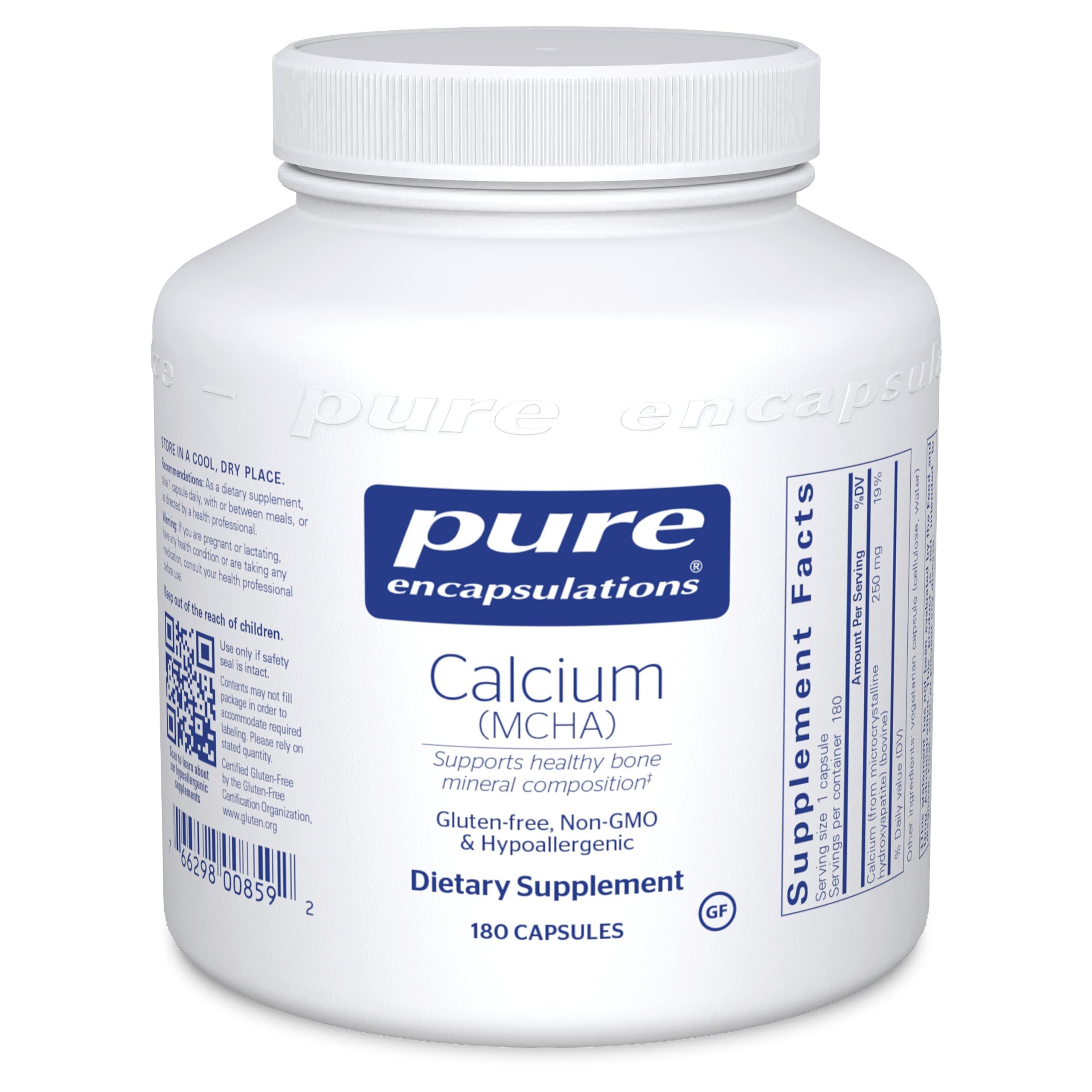 Pure Encapsulations Calcium MCHA   Hypoallergenic Supplement to Support Bones*   180 Capsules