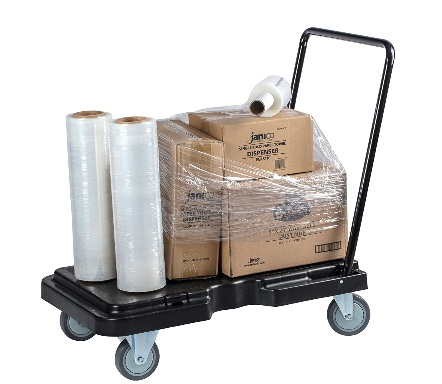 Industrial Dolly Foldable Moving Warehouse Push Hand Truck Black Janico 1059 Folding Platform Cart