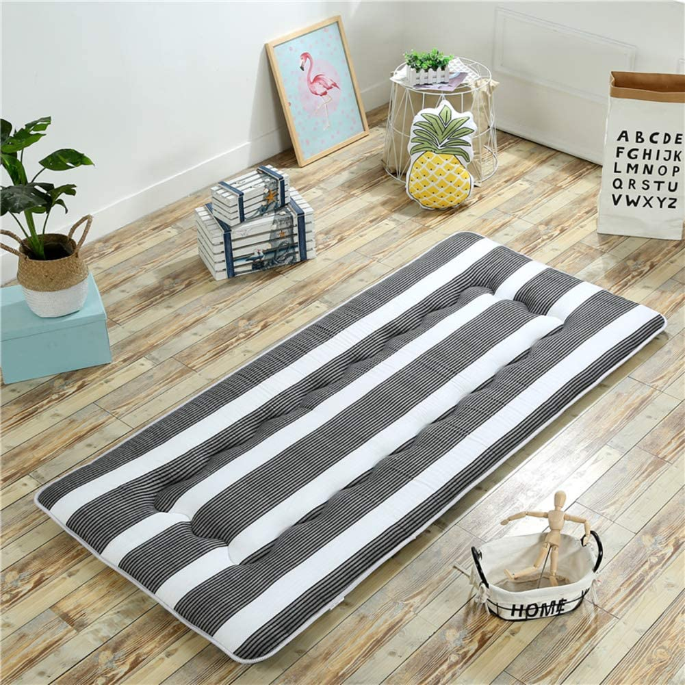 Folding Traditional Japanese Futon Pad,Sanding Printed Mattress Topper,Sleeping Tatami Floor Mat Bed Topper Upholstered for Home Student Dormitory-a Queen