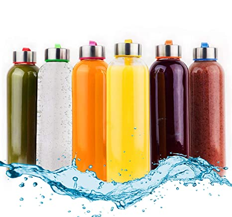 Botellas de Agua de Cristal - Set de 6 Botellas Reutilizables de Vidrio sin BPA con Funda de Nailon y Tapa a Prueba de Fugas Para Batidos, Zumos, Té y ...
