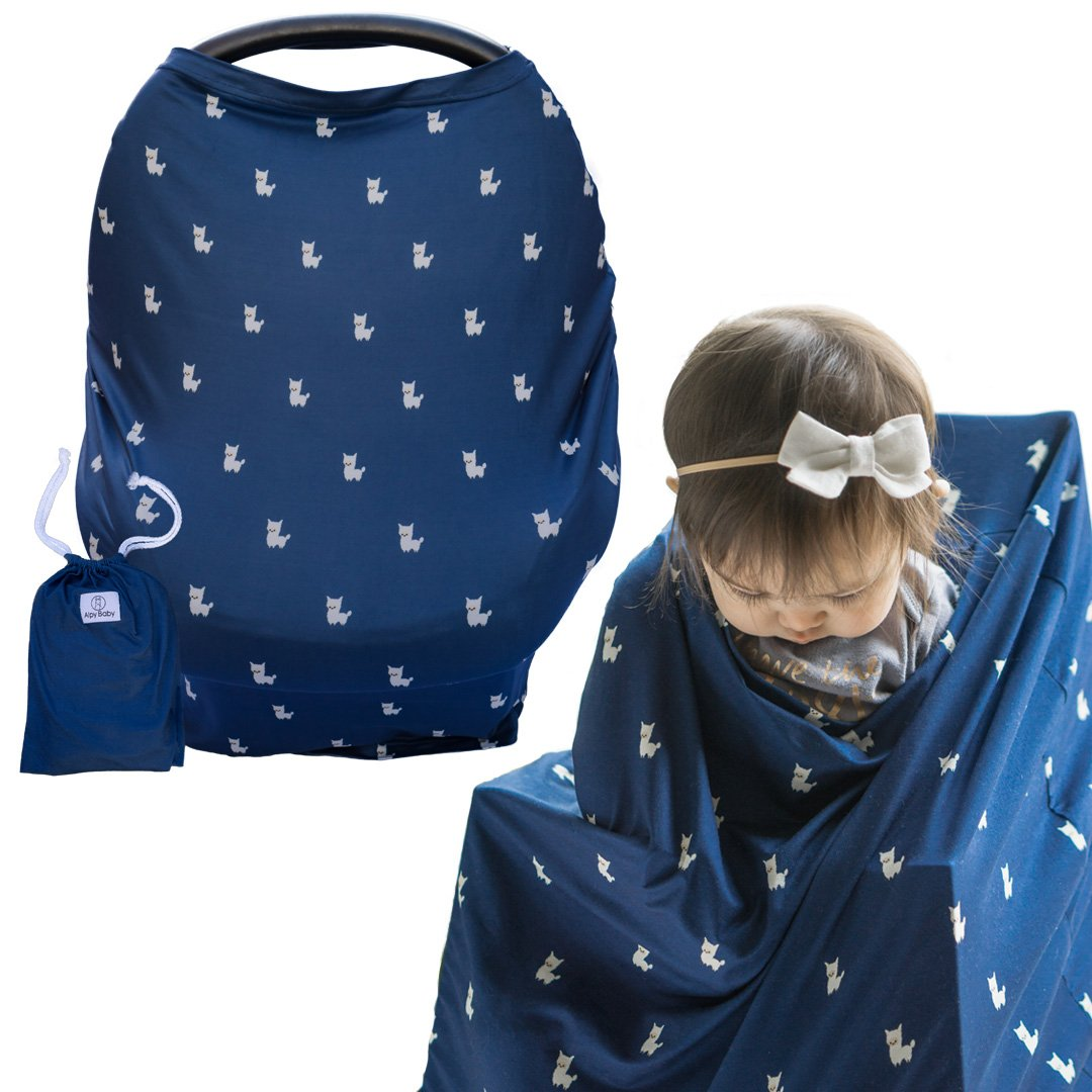 "Multi-Use Nursing Cover by Alpy Baby for Breastfeeding, Baby Car Seat, Shopping Cart and High Chair - ""Navy with Alpacas"" - Super Soft and Stretchy - Perfect Baby Shower Gift for Boys and Girls"
