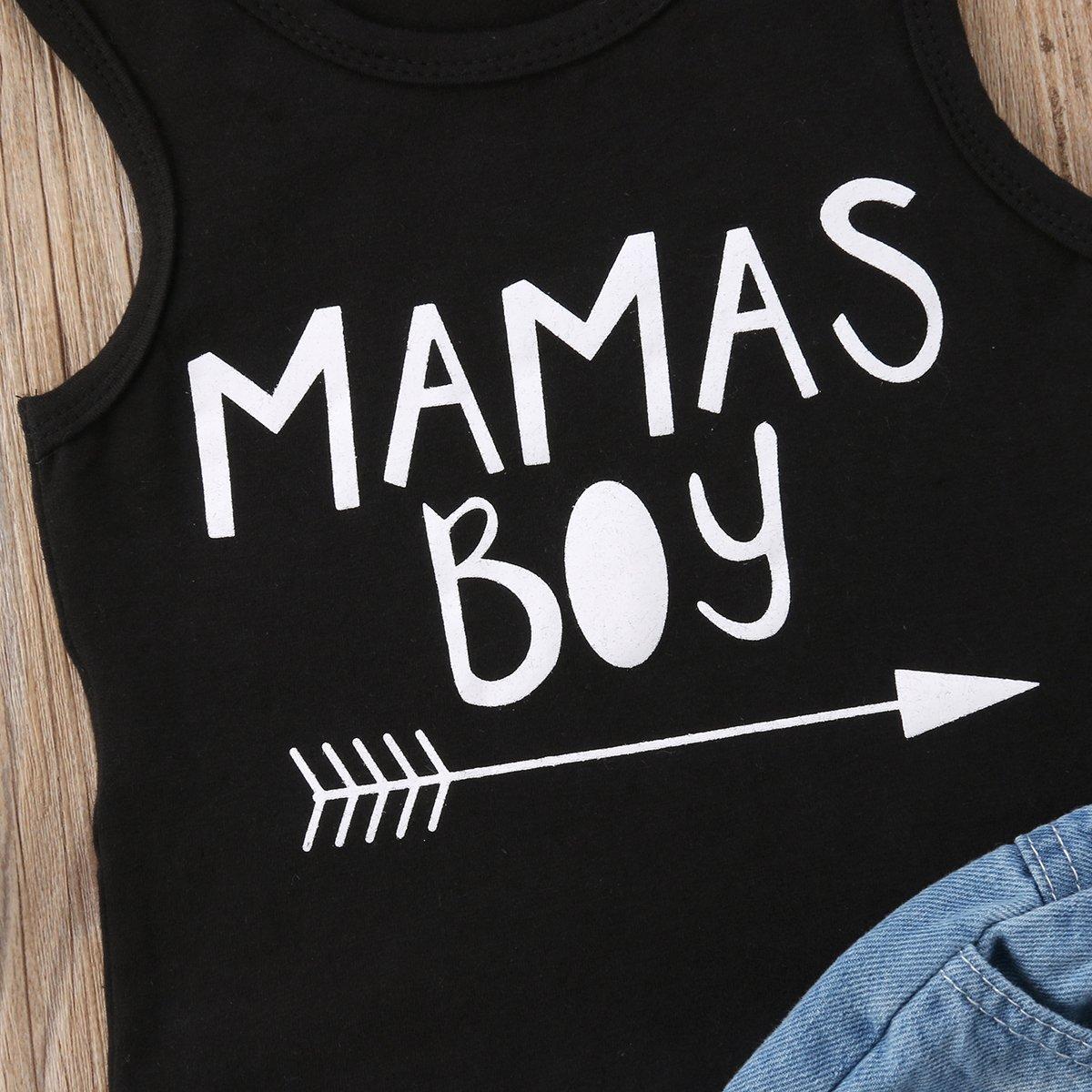 Cute Toddler Outfit Baby Boys Clothing Mamas Boys Arrow Print Vest Top Holes Denim Shorts Set