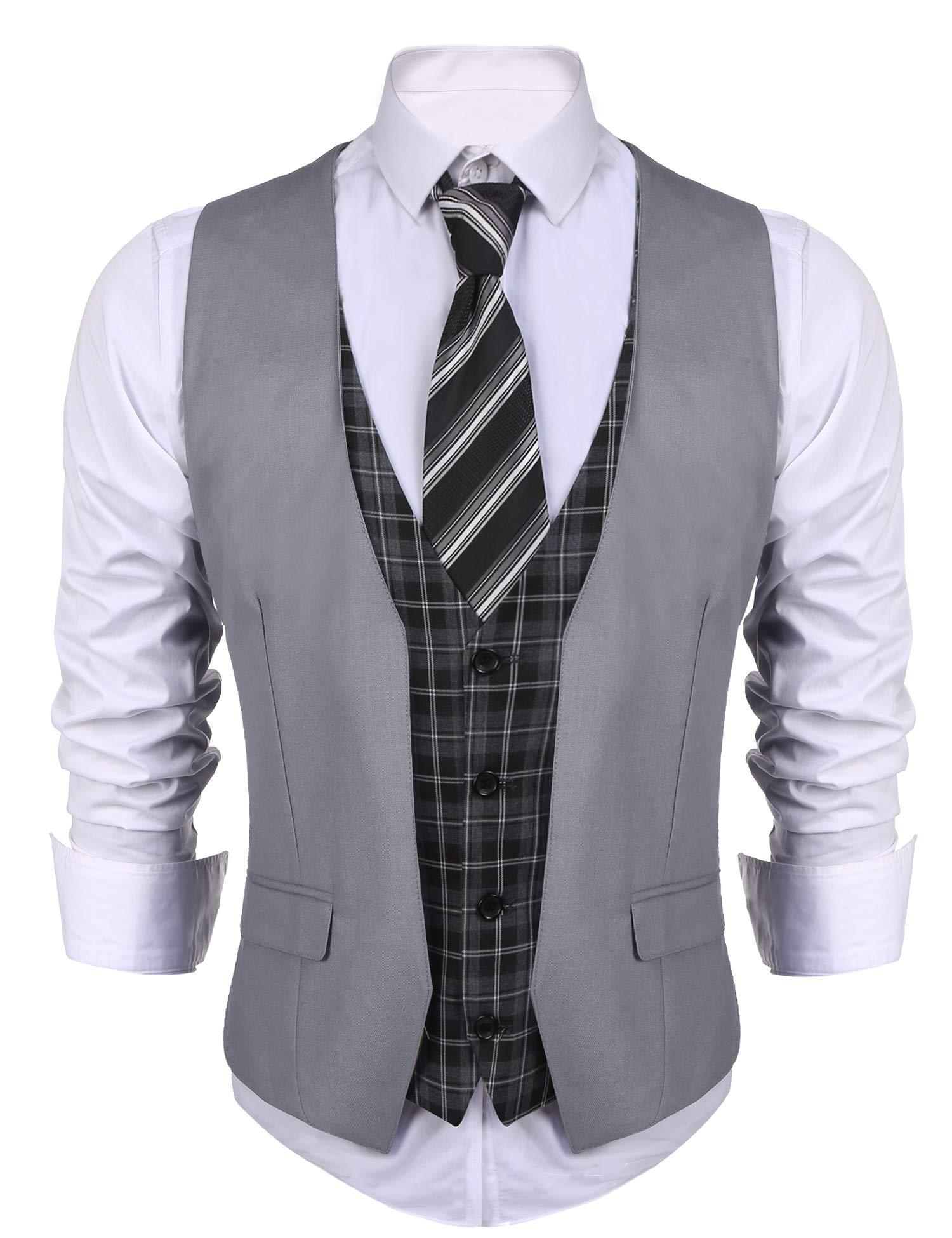 COOFANDY Men's Dress Suit layered Vest V Neck Plaid Patchwork Wedding Waistcoat, Grey, Medium by COOFANDY