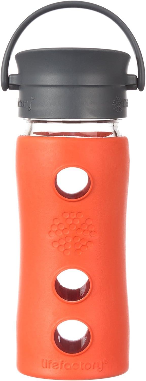 Lifefactory 12-Ounce BPA-Free Glass Coffee and Tea Travel Mug with Café Cap and Insulating Sleeve, Lava