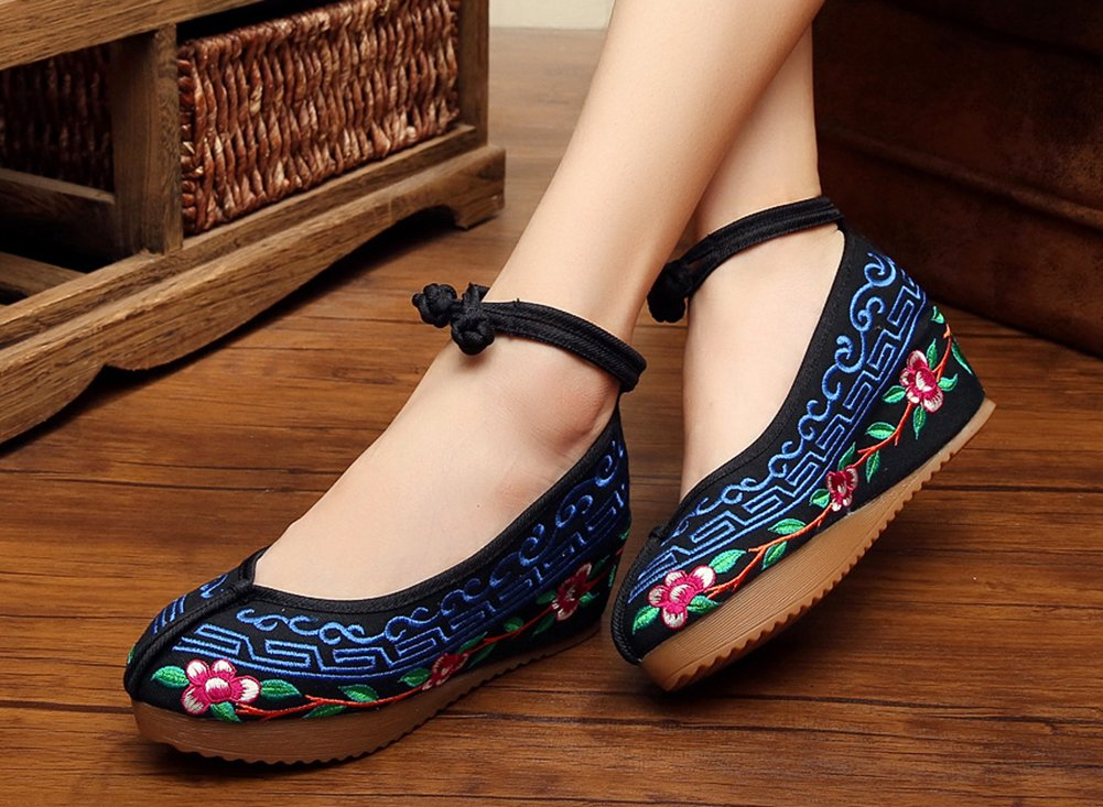 AvaCostume Chinese National Style Casual Embroidery Flat Sole Walking Shoes for Girls Women B079ZRX68F 43 M EU|Black