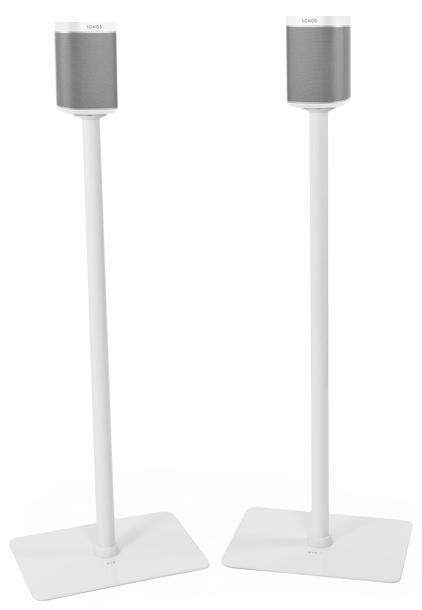 VIVO White Speaker Floor Stands (Pair) Designed for SONOS PLAY 1 and PLAY 3 Audio Speaker Freestanding Bracket Mounts (STAND-SP03W)