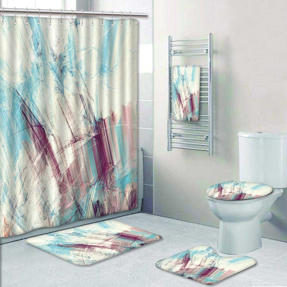 delicate VROSELV Designer Bath Polyester 5-Piece Bathroom Set, blue ...
