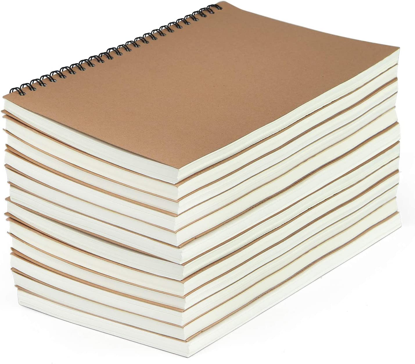 SAYAYA 12 Pack Kraft Cover Wirebound Notebooks Bulk Journals Spiral Steno Pads with Lined Paper Brown Spiral Notebooks with 120 Pages 60 Sheets Memo Notepads for Home School Travel, 8.3 x 5.5 inch