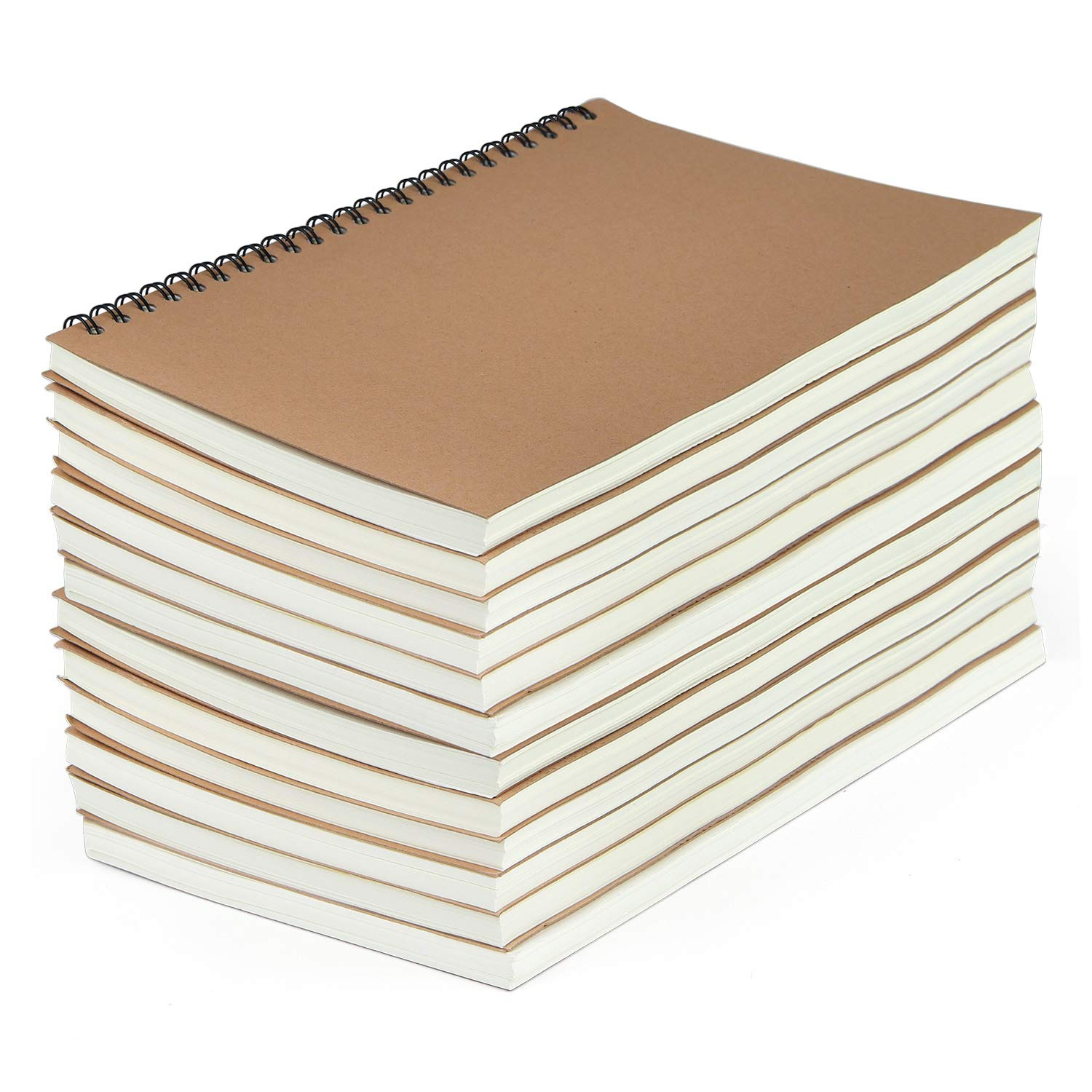 SAYAYA 12 Pack Kraft Cover Wirebound Notebooks Bulk Journals Spiral Steno Pads with Lined Paper Brown Spiral Notebooks with 120 Pages 60 Sheets Memo Notepads for Home School Travel, 8.3 x 5.5 inch by SAYAYA