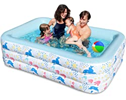 """Inflatable Swimming Pool for Kids Above Ground,Blow Up Pools Family Lounge Toys 83""""x55""""x24"""" Outdoor,Garden,Backyard Water Fun"""