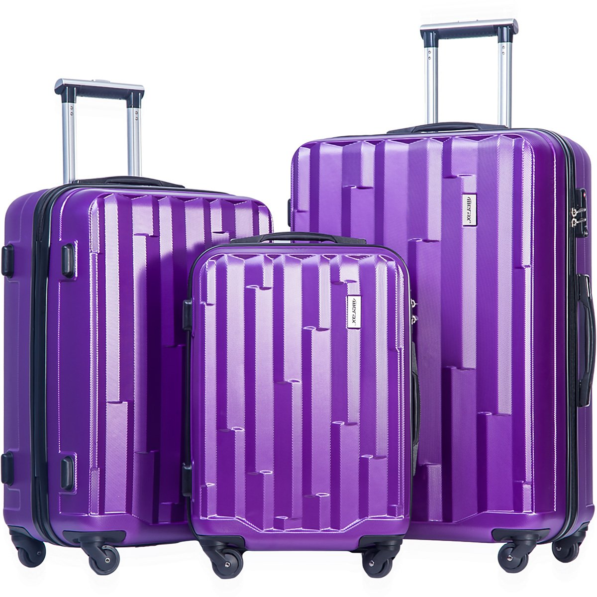 Merax Luggage set 3 piece luggages Suitcase with TSA lock (Purple)