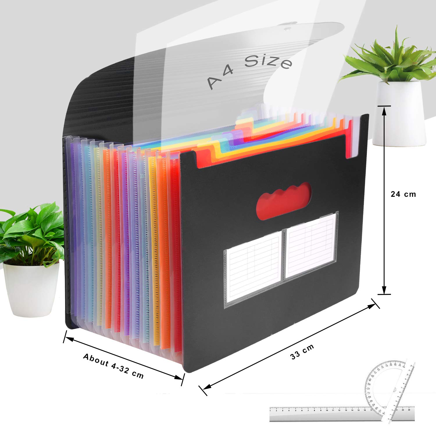 Soneer File Organiser,13 Pockets Expanding File Folder,A4 Accordion Wallet Folder Portable Documents Holder with Lid,Multicolor Rainbow for Office//Business//School