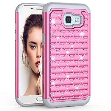 finest selection 350f8 6b0b6 Mqmall Compatible with Samsung Galaxy A3 2017 Case, Galaxy A3 2017 Phone  Case,Baby Pink Hard PC Hybrid Heavy Duty Shockproof Bling Rhinestone Back  ...