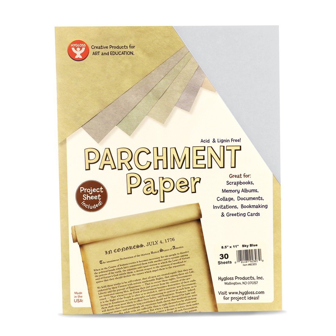 Printer Friendly 500 Sheets Hygloss 92355 Products Craft Parchment Paper Sheets 8-1//2 x 11 Made in USA Pink