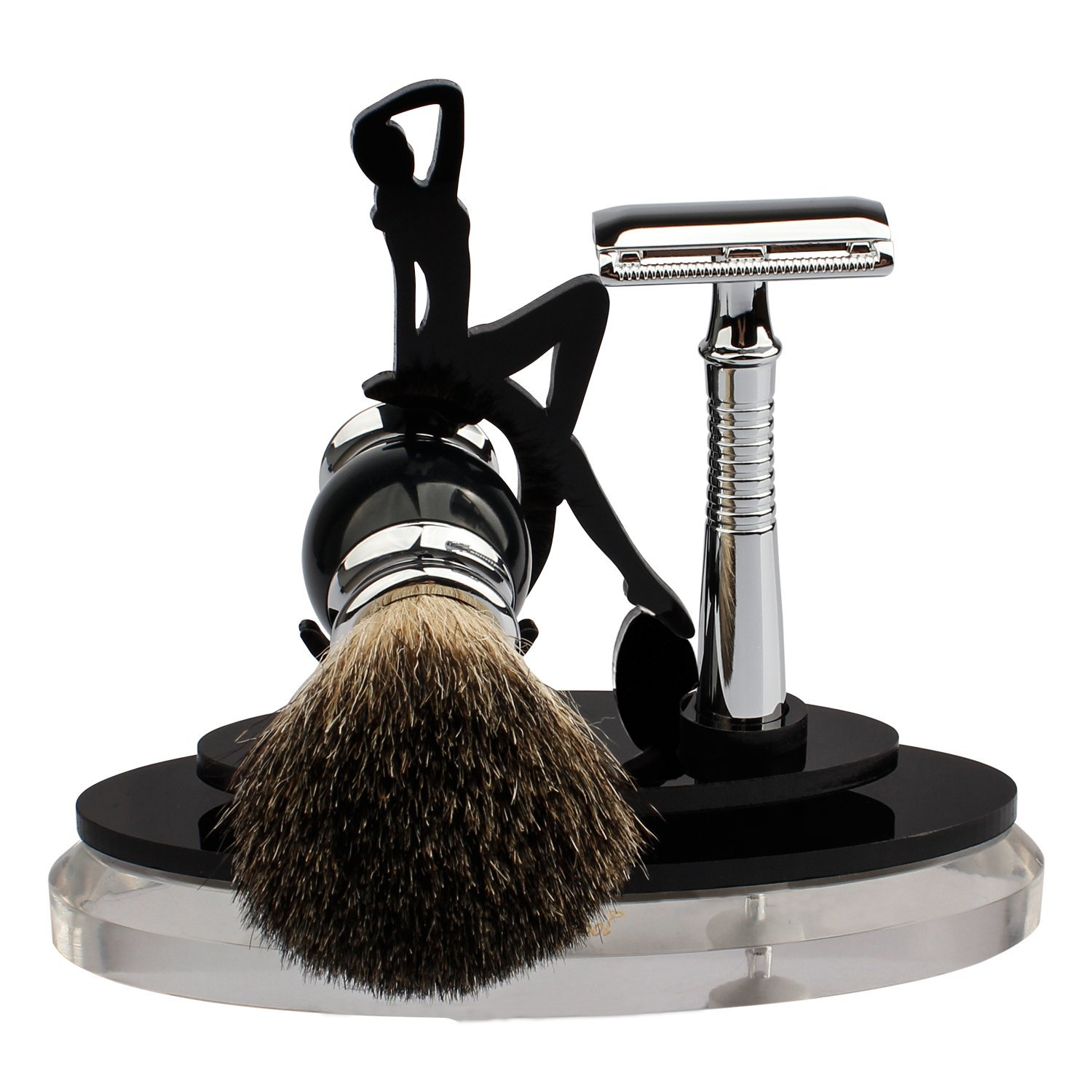 Shaving Set, Long Handle Safety Razor+Badger Hair Shaving Brush+Shave Stands by Deluxe Crystal Acrylic+5 Platinum Double Edge Blades, Shaving Gift Kit for Father Husband & Friends