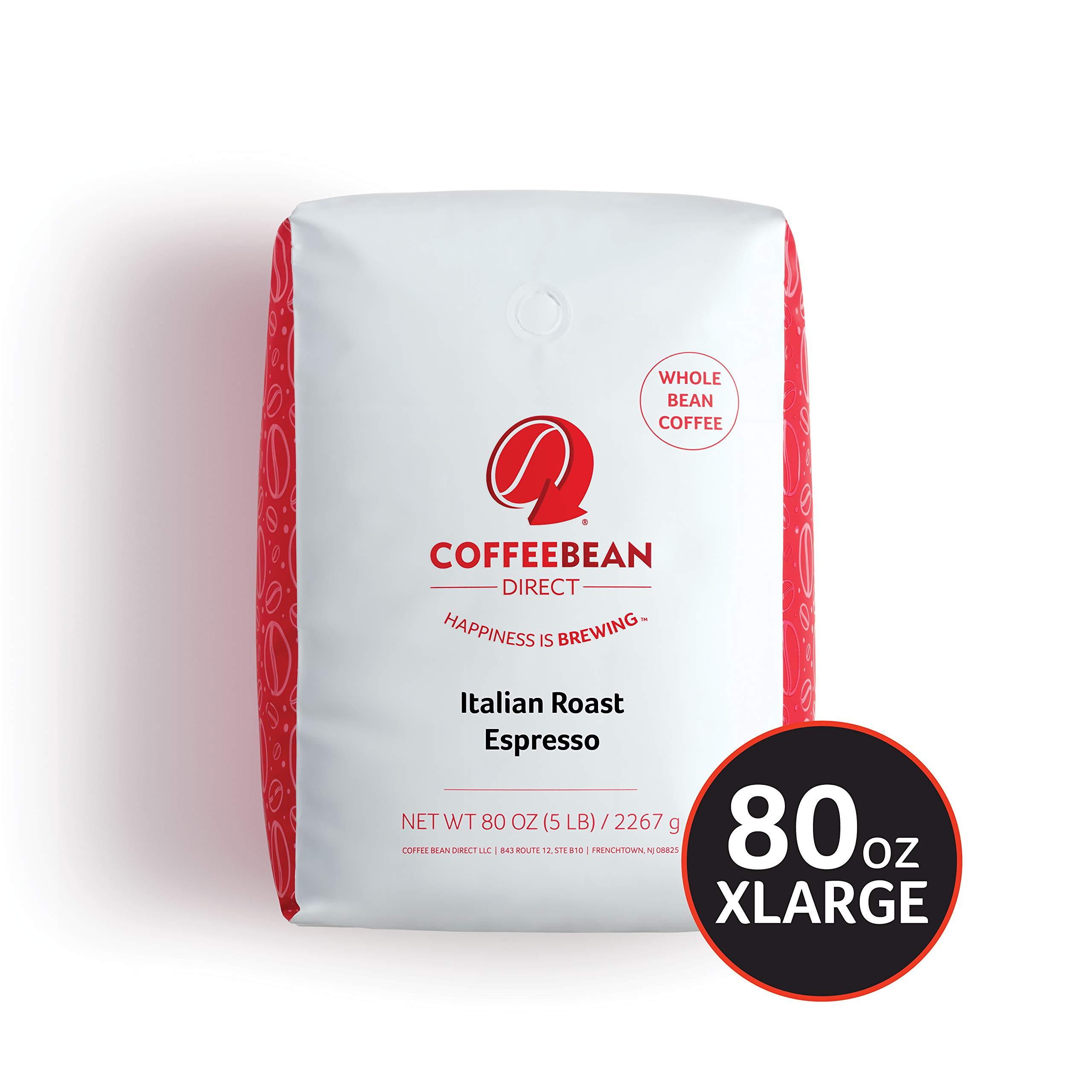 Coffee Bean Direct Italian Roast Espresso, Whole Bean Coffee, 5-Pound Bag by Coffee Bean Direct