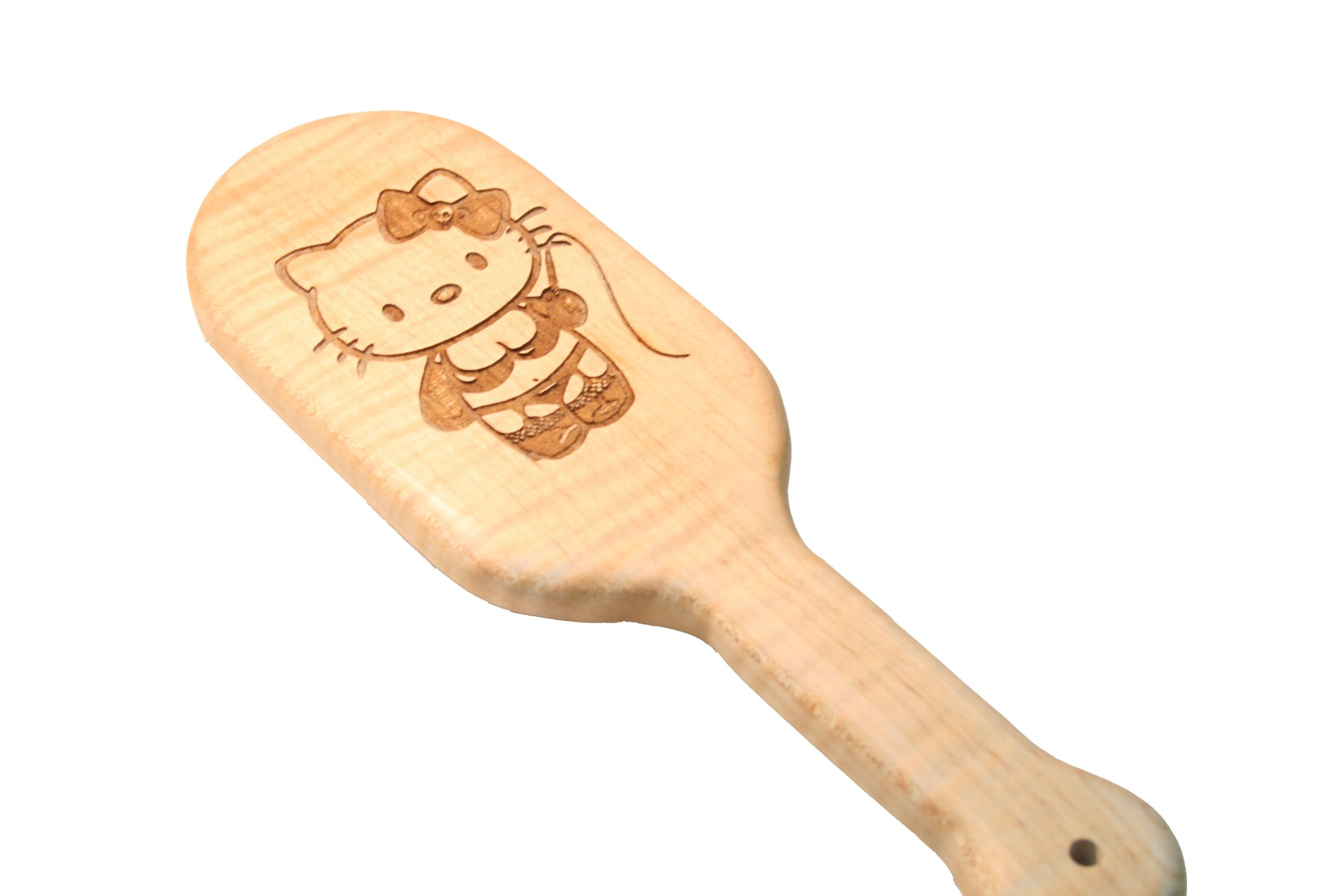 Kinky Kitty Engraved BDSM Spanking Paddle in Maple Fetish BDSM Sex Gear by The Kink Factory USA by The Kink Factory
