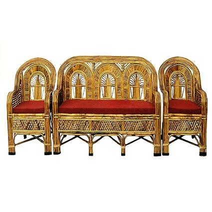 Marvelous H M Services Wooden Cane Sofa Set With Table Brown Amazon Spiritservingveterans Wood Chair Design Ideas Spiritservingveteransorg