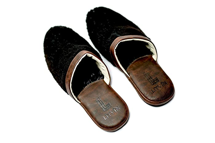 3477a89c7 Amazon.com: Slippers, Men's House Shoes, Leather Slippers, Black Fur ...