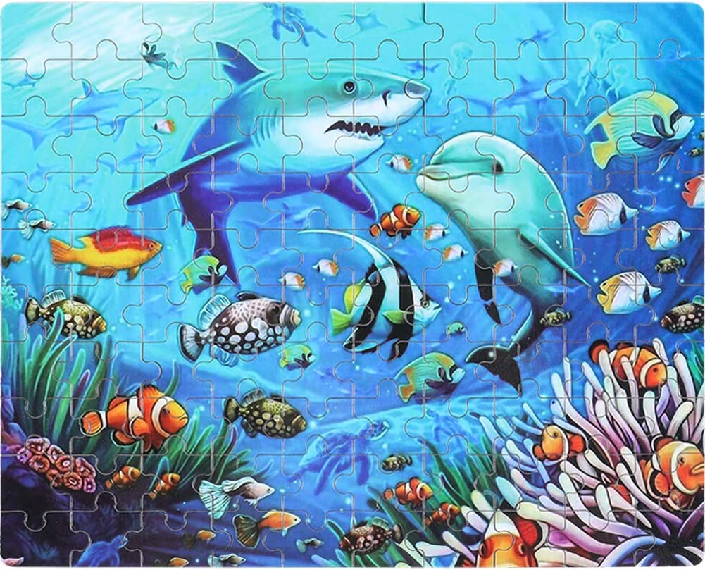 Puzzles for Kids in a Metal Box 100 Piece Jigsaw Puzzle for Kids Ages 4-8 Puzzles for Girls and Boys Great Gifts for Children (Sharks)
