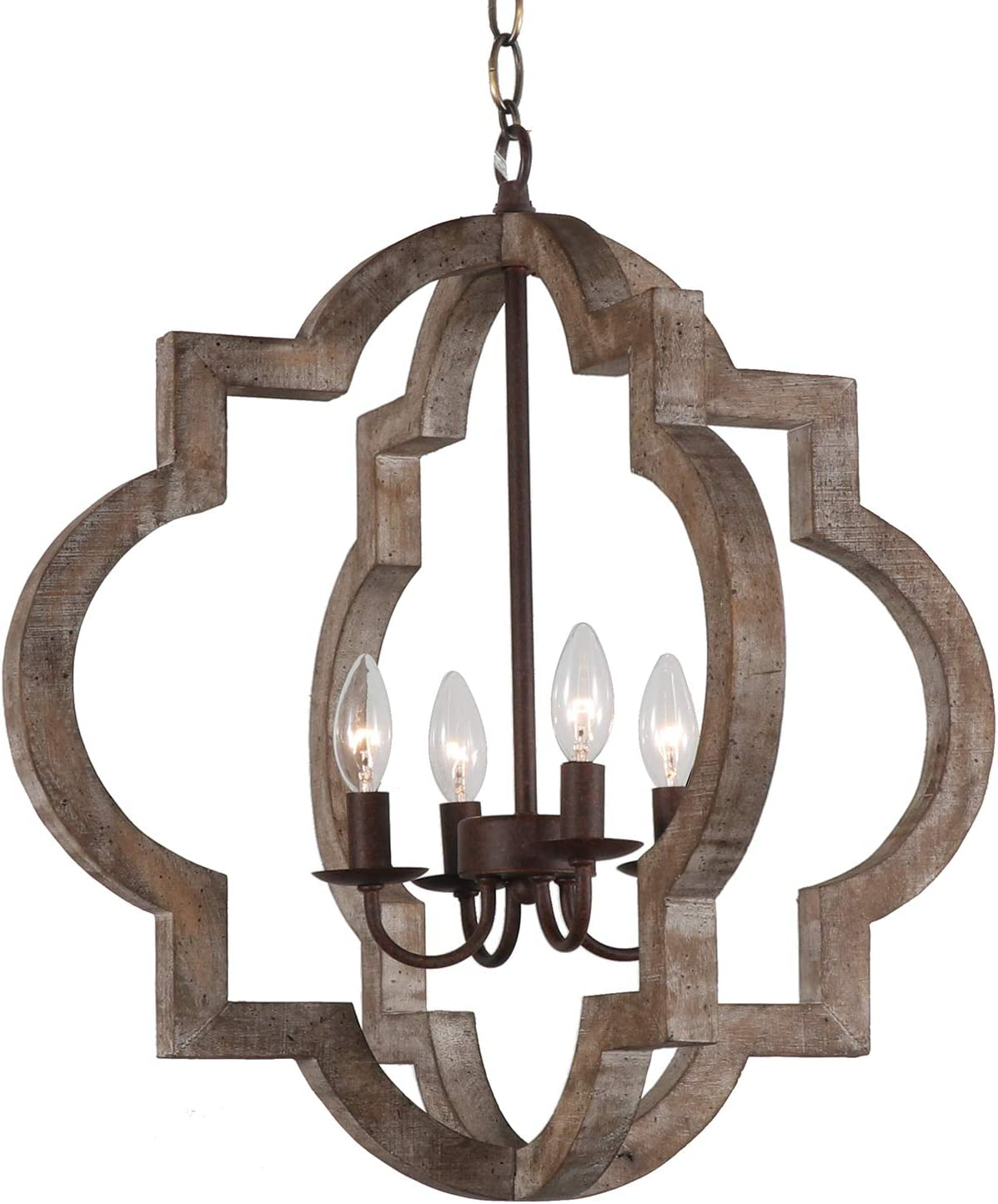 Vintage Retro Iron Wooden Chandelier Rustic Metal and Wood Ceiling Pendant Chandeliers Hanging Ceiling Mount Lamp Home Decor Light for Kitchen Island, Foyer, Dining Room, Bedroom, Living Room