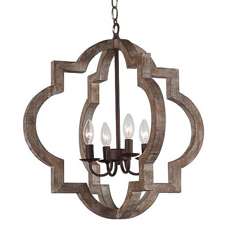 Amazon.com: Lámpara de techo colgante de madera y metal ...