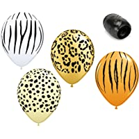"12 Pack 11"" Safari Print Latex Balloons Zebra Cheetah Leopard Tiger with Matching Ribbons"
