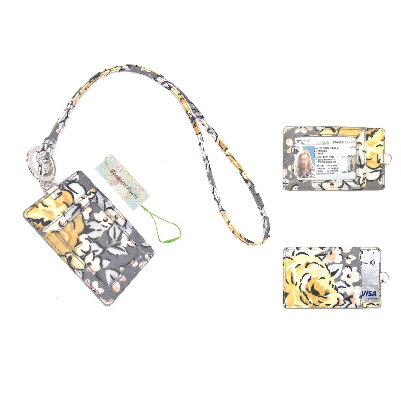 wonderful flower Id Case and Lanyard ID Card Badge Gray/Yellow
