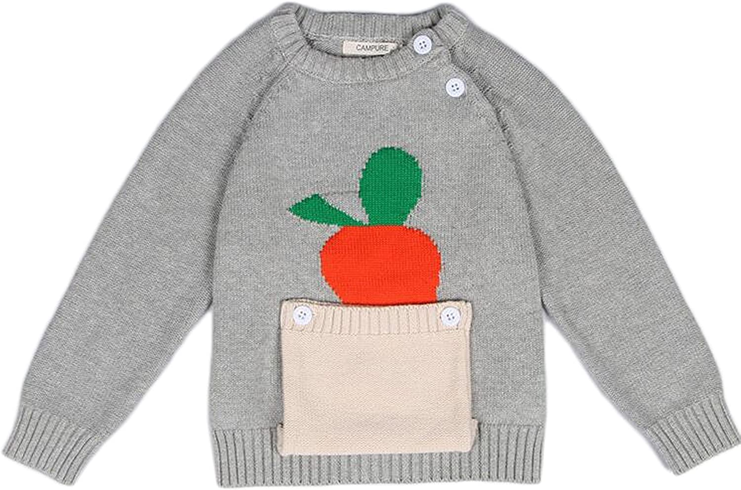 Jojobaby Unisex Kids Baby Winter Cotton Knit Carrot Pocket Round Neck Pullover Sweater Sweatshirt