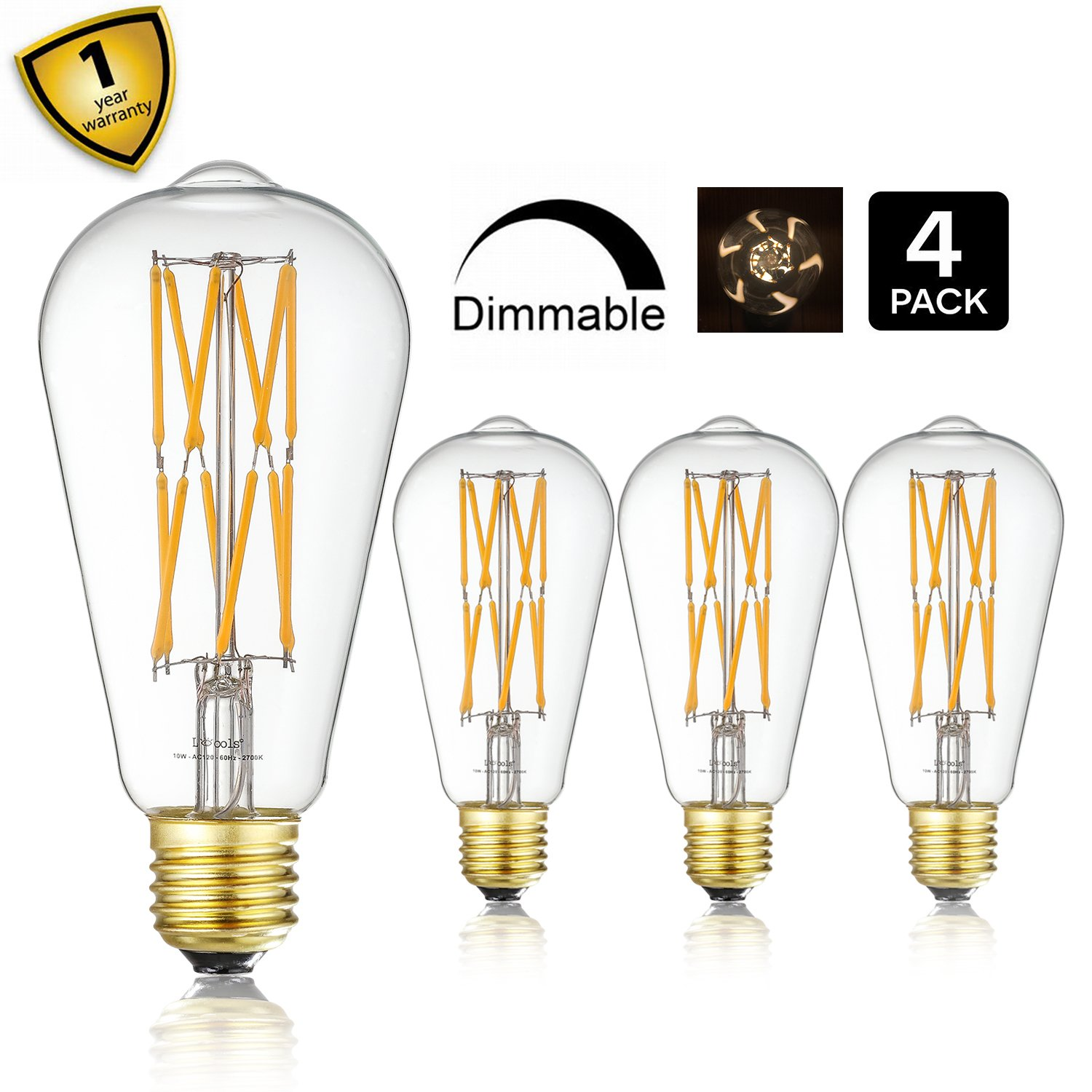 10W Edison Style Vintage LED Filament Light Bulb,ST64(ST21) Led Retro Bulb,100 Watt Equivalent Light Bulbs,Warm White 2700K,1200LM,Dimmable, E26 Medium Base Lamp, Antique Shape, (4 Pack)