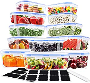 Food Storage Containers with Lids,Ionlyou 12 Pack Plastic Food Containers with Lid,Airtight Leak Proof Snap Lock Bento Boxes,BPA-Free Plastic Containers Set with 16 Chalkboard Labels & Marker Pen