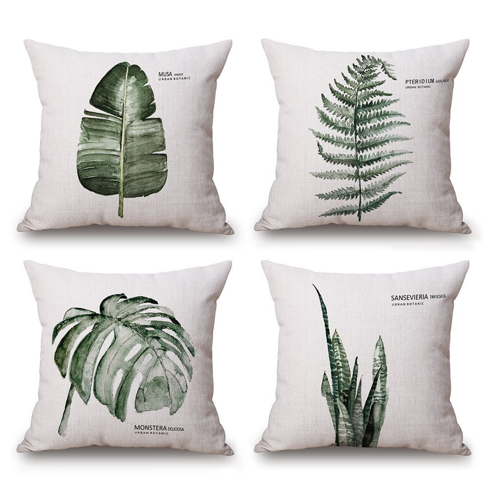 Wencal Green Plant Leaf Cushion Cover Home Outdoor Sofa Decorative Cotton Linen Throw Pillow Case 18 x 18 Inch