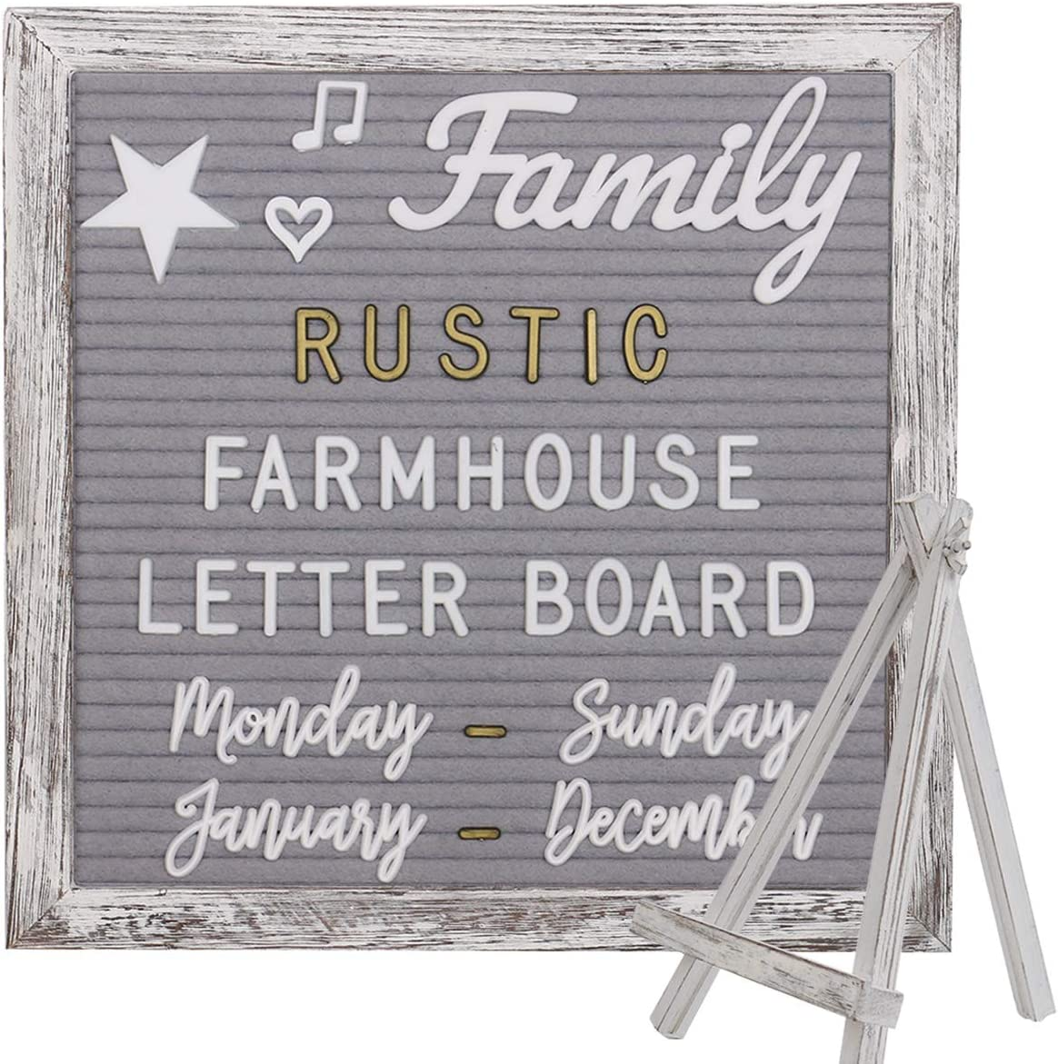 Farmhouse Rustic Gray Felt Letter Board 10x10 Inches with Stand Easel + 748 Pre-Cut Letters + 11 Cursive Words Shabby Chic Wood Frame Changeable Message Board with Letters (White and Metal Gold)