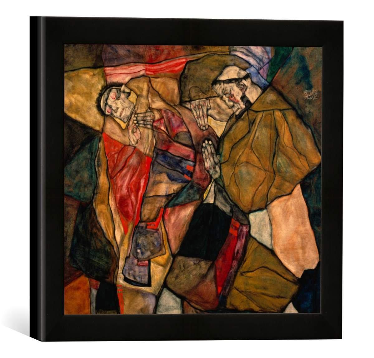 Gerahmtes Bild von Egon Schiele Agonie, Kunstdruck im hochwertigen handgefertigten Bilder-Rahmen, 30x30 cm, Schwarz matt
