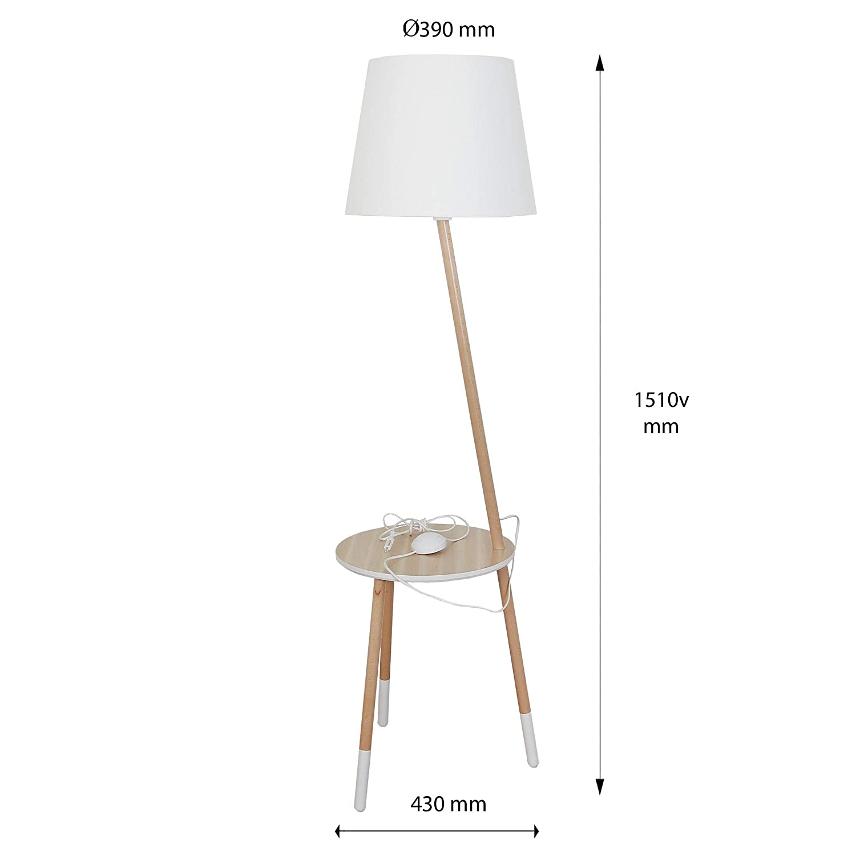 Stehleuchte Dreibein Holz Grau Braun H 152cm E27 Trichter Schirm