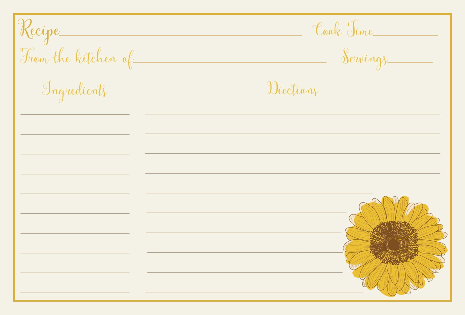 Recipe Cards, Sunflowers, Sunflower, Bridal Shower, Yellow, Country, Floral, Housewarming, Shabby Chic, Wedding, Gift, Double Sided with Lines, Size 4 x 6, 24 Printed Cards by The Invite Lady