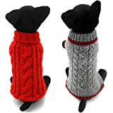 Dofyou 2 Pieces Pet Dog Clothes Knitwear Dog Sweater Soft Thickening Warm Sweater for Dogs Apparel Classic Red and Grey